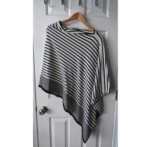 Soft black and white graphic stripe poncho